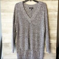 Express women's knit heather gray v-neck hi-low pullover oversized sweater XS