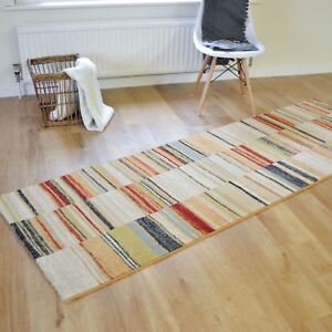 Woodstock Rugs 32303 6372 Modern Multi Striped Hallway Kitchen Runners 80x240cm