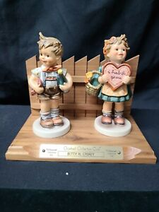 """Hummel """"Valentine Gift"""" #387 """"Valentine Joy"""" #399 Figurines on Collectible Stand"""