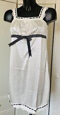 Cream Polka Dot Satin Chemise Lace Nightie Nightwear Nightdress   Size 12-14