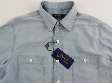 Men's POLO RALPH LAUREN Chambray Blue Yachting Sailing Shirt XL XLarge NWT NEW