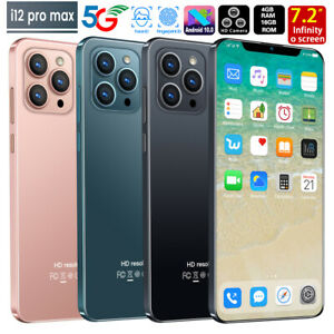 "I12 4+64GB Pro Max 7.2"" Phone Android 10 Face ID Fingerprint Smartphone 5600mah"