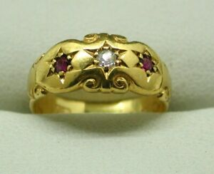 1879 Victorian Beautiful 22 Carat Gold Ruby And Diamond Gypsy Ring Size H.1/2