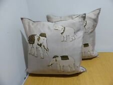 Jim Thompson style grey silk elephant pattern print pair of cushions x 2