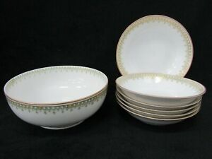 Theodore Haviland Schleiger Gold & Green Trim Limoges Berry Bowl & Cereal Bowl