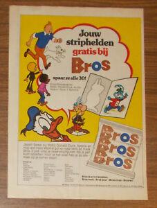Seltene Werbung Bros Schokolade ASTERIX TIM UND STRUPPI Sammelbilder NL 1975