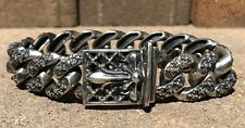 Biker Gothic Maltese Cross Bracelet -163g Huge Sterling Silver 20mm Cuban Link