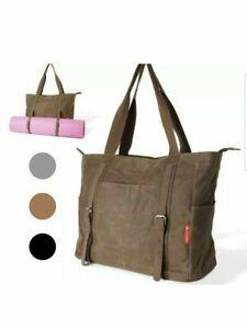 LUCKAYA Yoga Mat Tote Bag Backpack: Multi Purpose Carry on - BLACK