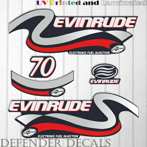 Evinrude 70hp Four Stroke outboard engine decal sticker set Blue Cowling