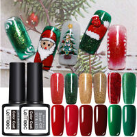 LEMOOC 8ml Nagel Gellack Soak off Weihnachten Nail UV Gel Polish Rot Grün Gold