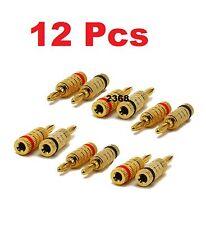 12PCS ( 6 Pair ) 24K Gold Nakamichi Speaker Banana Plug Audio Jack Connector