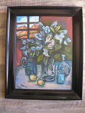 Flores Antiguo Original Aceite, Firmado David Burliuk 1882/1967