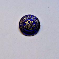 Enameled Vintage Lapel Pin Balfour Progress in Writing Gold Tone