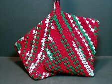 Double Thick Crocheted Hot Pad Pot Holder Pair - Christmas - red green white