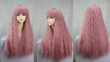 new dark pink long straight curly cosplay wig + wig cap