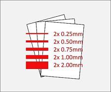 10 Sheets A4 Plasticard: 2x 2mm; 2x 1mm; 2x 0.75mm; 2x 0.50mm; 2x 0.25mm (White)