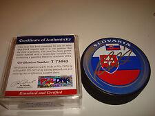 Jaroslav Halak Signed Team Slovakia Hockey Puck Autographed PSA/DNA COA c