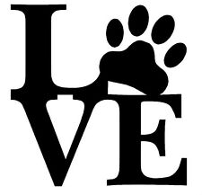 LOVE PAW DECAL STICKER WALL LAPTOP DOG PUPPY CAR WINDOW CHOOSE COLOR