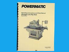 Powermatic Model SLR12 Straight Line Rip Saw Instruction & Parts Manual *306