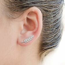 1 Pair Silver Plated Clear Crystal Leaf Ear Cuff Clip Hook Wrap Earring Jewelry