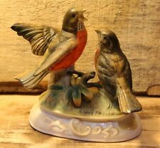 Vintage Pair Of Robins Bobin Bird Figures On Stand Very Nice +