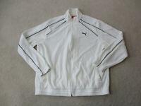Puma Jacket Adult Large White Black Full Zip Windbreaker Coat Mens 90s *