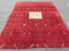 Old Traditional Hand Made Persian Oriental Gabbeh Wool Red Square Rug 245x200cm