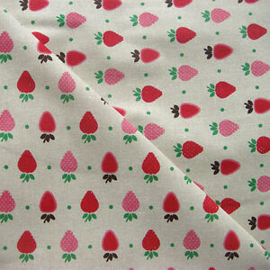 50x150cm  Cotton Linen Fabric DIY Craft Material Printed Red Strawberry F115 B#