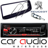 Peugeot 206 JVC CD MP3 USB AUX In RED Display Car Stereo Player & Fitting Kit