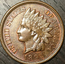 Choice BU 1894 Indian Cent, Generous Amounts Of Mint Red Remain, Die Cud Feather