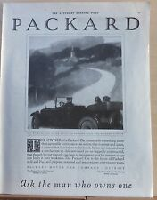 1921 magazine ad for Packard - car on country road, focus of skill & purpose