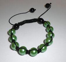 Bracelet shamballa noir perles vertes et perles hématite noir BR16