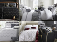 Modern Laurence Llewelyn Bowen Embroidered Pattern Duvet Cover Pillowcase Set