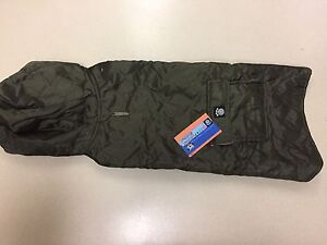 Petrageous Designs Dog Hooded Jacket Green With Tan Fleece Lining L New
