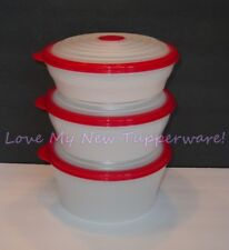Tupperware Stuffables Set of 3 Large Bowl Set 4, 6-and 8-cup Red Seals NEW