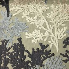 REEF - CORAL PATTERN CUT VELVET UPHOLSTERY FABRIC BY THE YARD -  Platinum