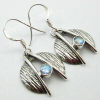 925 Fine Silver Women Jewelry Blue Round Rainbow Moonstone Dangle Earrings