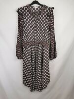H&M ladies midi dress long sleeve frilled floral buttoned size 10 003