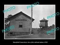 OLD LARGE HISTORIC PHOTO OF MANSFIELD CONNECTICUT THE RAILROAD STATION c1920
