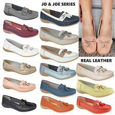 Womens Ladies moccasins Real leather tassel loafers comfort boat shoes size 3-8
