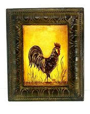 """Tin Rooster Hanging Picture 12"""" x 10"""" Farm Country Decor Folk Art"""