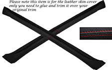 RED STITCH 2X A POST PILLAR LEATHER SKIN COVERS FITS AUDI QUATTRO UR COUPE GT