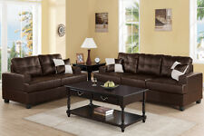 Espresso Bonded Leather 2 Pc Sofa Set Sofa & Loveseat W/ Pillows Living Room Set