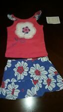 Girls Set Size 3 6 months Sesame Street Flowers Pink Top Blue Skirt New Nwt