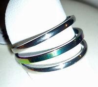 3 Edelstahl Ringe im Set, silber + multicolor, Gr.16, 17, 18, 19, 20, 21 NEU+TOP