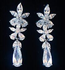 EARRING using Swarovski Crystal Dangle Drop Wedding Bridal Rhodium Silver CZ39