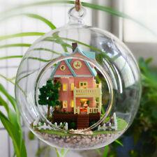 DIY Wooden Dolls house Glass Miniature Kit-LED Voice Dollhouse & accessories