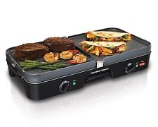 Hamilton 3 in1 Indoor Grill Electric Griddle Countertop Two Plate Kitchen Cook