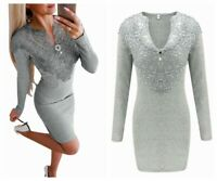 Dress Bodycon Work Womens Knitted Lace Mid-Length Casual Ladies Jumper Sleeve