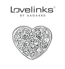 Genuine LOVELINKS 925 sterling silver sparkly BLING HEART charm bead RRP £36